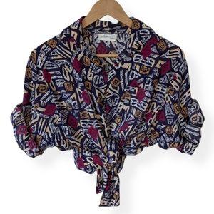 Vintage 90s Aztec Print Button-up Shirt